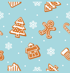 Christmas cookies seamless pattern gingerbread vector