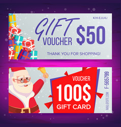christmas voucher template horizontal card vector image