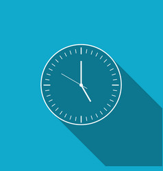 clock icon isolated with long shadow time icon vector image