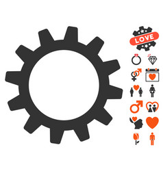 cogwheel icon with valentine bonus vector image
