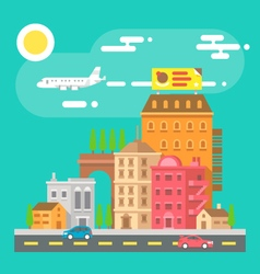 Colorful cityscape scene in flat design vector