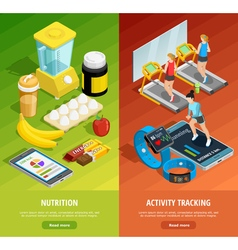 Colorful gym isometric vertical banners vector