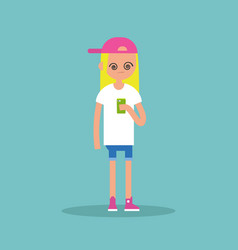 conceptual young blond girl hypnotized by her vector image