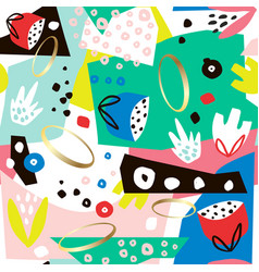 creative seamless pattern with hand drawn shapes vector image