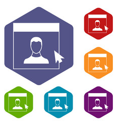 cursor point man on monitor icons set vector image