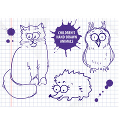 cute hand drawn cartoon cat owl hedgehog for vector image