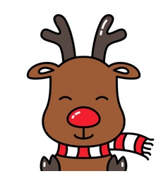Cute smiling reindeer rudolph avatar head isolated vector