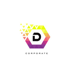 d colorful hexagon shaped letter logo design vector image