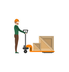 Delivery postman pushing trolley with boxes vector