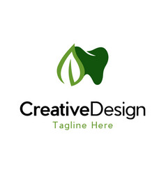 Dental leaf care naturally logo vector