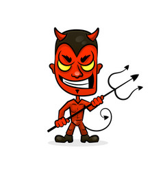 Devil cartoon character sports mascot face with vector