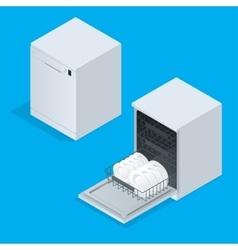 Dishwasher full of utensils isolated against white vector image