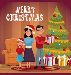 Family christmas cartoon vector