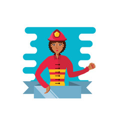 Firefighter professional female with ribbon vector
