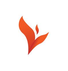 Flame winged leaf shape symbol design vector