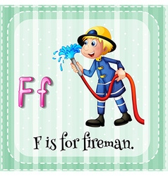 Flashcard letter f is for fireman vector