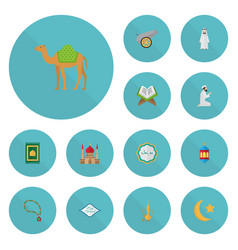 Flat icons minaret artillery praying man and vector