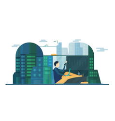 future people in urban buildings with blue sky vector image