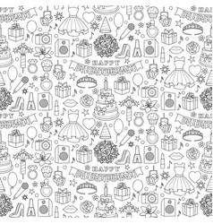 Girl birhtday doodle seamless pattern vector