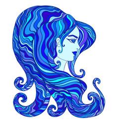 Goddess water cyan dark blue aquamarine vector