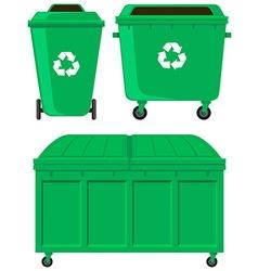 Green trashcans in three designs vector image