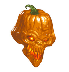 Halloween pumpkin with evil face and red eyes and vector