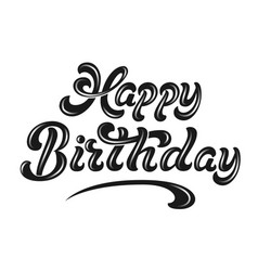 Hand drawn lettering - happy birthday with shadow vector