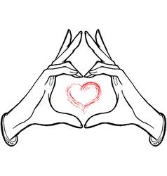 Hands showing heart vector