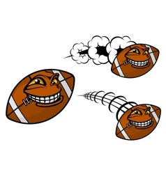 Happy cartoon football or rugby ball vector image