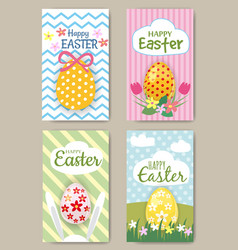 happy easter cards set with rabbit mini posters vector image