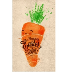 Happy easter carrot poster kraft vector image
