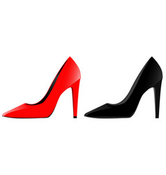 high-heeled shoes red and black vector image