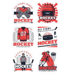 ice hockey items and professional players icons vector image