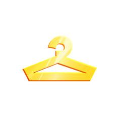 Icon hanger gold symbol for clothes interior sign vector