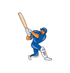 India Cricket Player Batsman Batting Cartoon vector