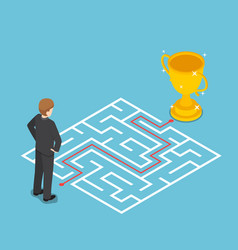 Isometric businessman looking at maze with vector