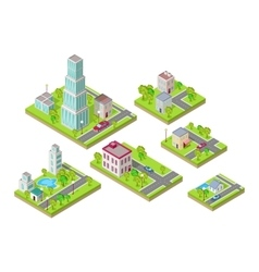Isometric City Buildings Set Isometry vector