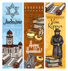 Judaism religion holidays menorah torah and rabbi vector