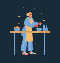 lady cooking at her kitchen vector image