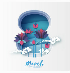 Lotus floral greeting card in paper cut style 8 vector
