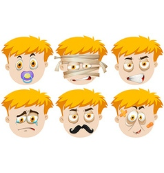Man faces with different emotions vector image