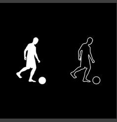 man kicks the ball silhouette soccer player vector image