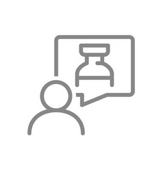 Medical ampoule in speech buble and user line icon vector