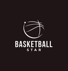minimalisit basketball star logo icon vector image