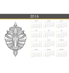 Modern calendar 2016 with monkey in English Ready vector image