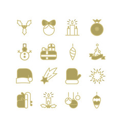 monochrome new year icons collection vector image