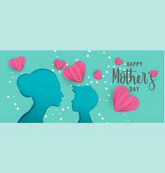mothers day paper cut web banner with little child vector image