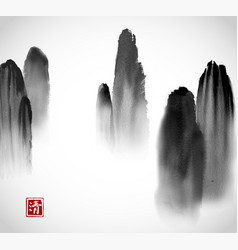 mountains in fog hand drawn with ink on white vector image vector image