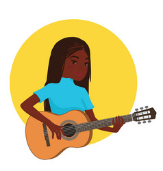 musician playing guitar african girl guitarist is vector image