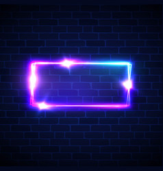neon street signage rectangle frame with glowing vector image
